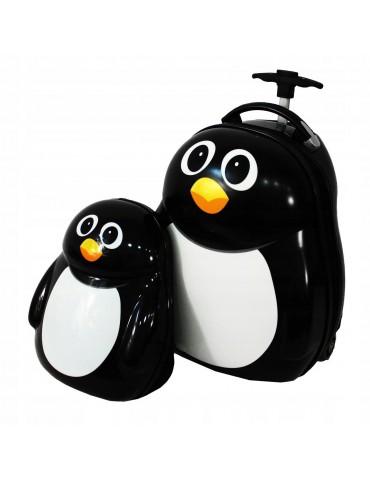 KIDS COLLECTION  walizka podróżna z plecaczkiem pingwinek