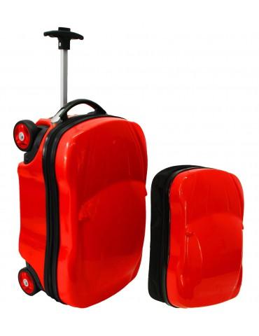 KIDS COLLECTION autko walizka podróżna z plecaczkiem  czerwony