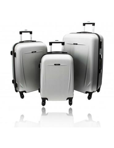 Zestaw walizek podróżnych 3w1 HELSINKI COLLECTION SREBRNY
