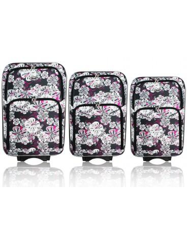 Zestaw walizek podróżnych 3w1 PARIS COLLECTION KWIATY